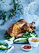 Indian-Spiced Marinated Turkey with Two Chutneys