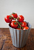 Tomatoes in a metal bucket