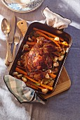 Lamb chops with roasted garlic and carrots (top view)