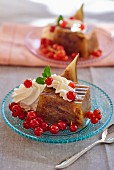 Fig jelly with red currants and whipped cream