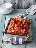 Vegetarian pumpkin and aubergine lasagne