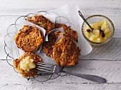 Parsnip and carrot fritters with apple sauce