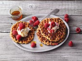 Sweet potato waffles with cinnamon and raspberry quark
