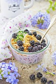 Chia pudding with blackberries and granola