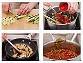 Vegane Zucchini-Linsen-Bolognese zubereiten