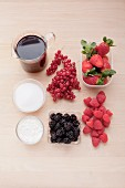 Ingredients for red fruit jelly