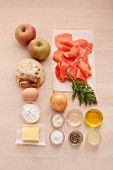 Ingredients for apple and celery fritters with salmon tartar