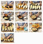 Gefüllte Auberginen mit Couscous und Feta zubereiten