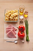 Ingredients for a tortellini salad with cooked ham