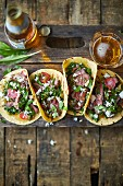 Wild garlic steak tacos with salsa