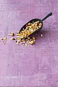 Homemade lupin granola with goji berries and amaranth