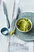 Vegan herb and pea spread with lupin groats