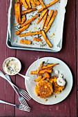 Spicy lupin and chilli patties with sweet potato fries and lupin mayo