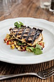 Striped Bass with Charred Corn, Onion and Tomato Salad