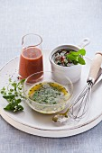 Vegan dressings: herb dressing, tomato and orange dressing, and taboluleh dressing