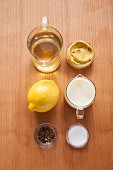 Ingredients for vegan lemon and pepper mayonnaise