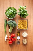 Ingredients for a broccoli pasta salad