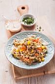 Reis-Champignon-Salat mit Joghurtdressing