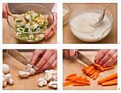 Reis-Champignon-Salat mit Joghurtdressing zubereiten