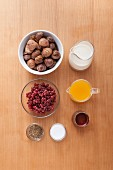 Ingredients for a chestnut dessert with wild cranberries