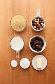 Ingredients for couscous with dates and nuts