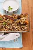 Vegetable crumble in a baking dish (Vegetarian)