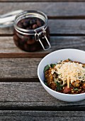 Buckwheat and red wine risotto with parmesan