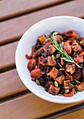 Fried halloumi with black beans and tomatoes
