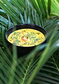 Mango and coconut soup with papaya and avocado