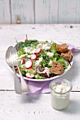 Colourful spring salad with blue cheese dressing and chunks of rye bread