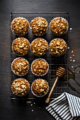 Spiced carrot and apple cupcakes with oatmeal