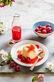 Pannacotta with fresh raspberries and raspberry sauce