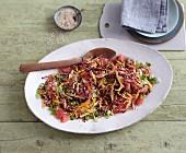 Vegetarian carrot and grapefruit salad