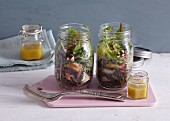 Lentil salad with sage and pear in a glass