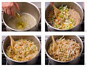 Vegetable rice with shoots being made