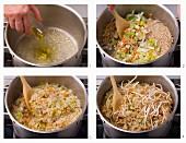 Gemüsereis mit Sprossen zubereiten