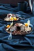 Chocolate lava cakes with almonds and physalis