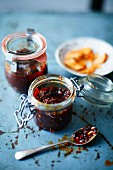 Homemade chilli paste in preserving jars