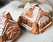 Small apple cake houses baked for Christmas