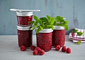 Raspberry jam with fresh mint