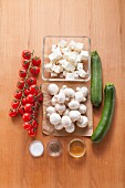 Ingredients for feta and vegetable skewers