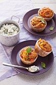 Vegetable muffins with cheese dip