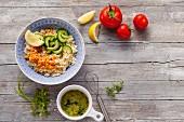 Zutaten für vegetarischen Couscoussalat