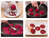 Vegetarian beetroot fritters being made