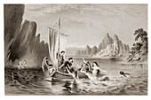 Mythical sirens seducing sailors.