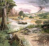 Cretaceous landscape, illustration