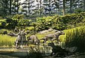 Estemmenosuchus therapsids, illustration