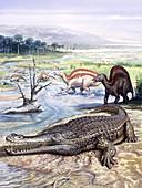 Sarcosuchus and Ouranosaurus reptiles, illustration