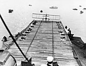 First landing of plane on a ship, USA, 1911
