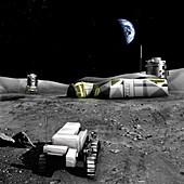 Aurora moon base, illustration